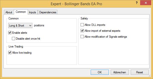 Metatrader - Expert Advisor common tab