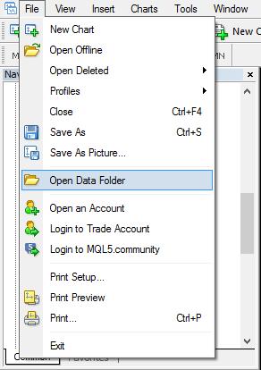 Metatrader - open data folder
